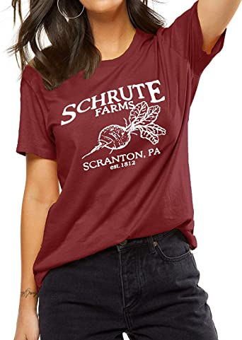 Womens Schrute Farms Beets Short-Sleeve Crewneck T-Shirt Print Tees Shirt Short Sleeve T Shirt Blouse Tops Black