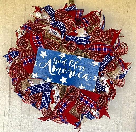 Amazon com: Rustic Patriotic Wreath | Rustic Farmhouse Everyday