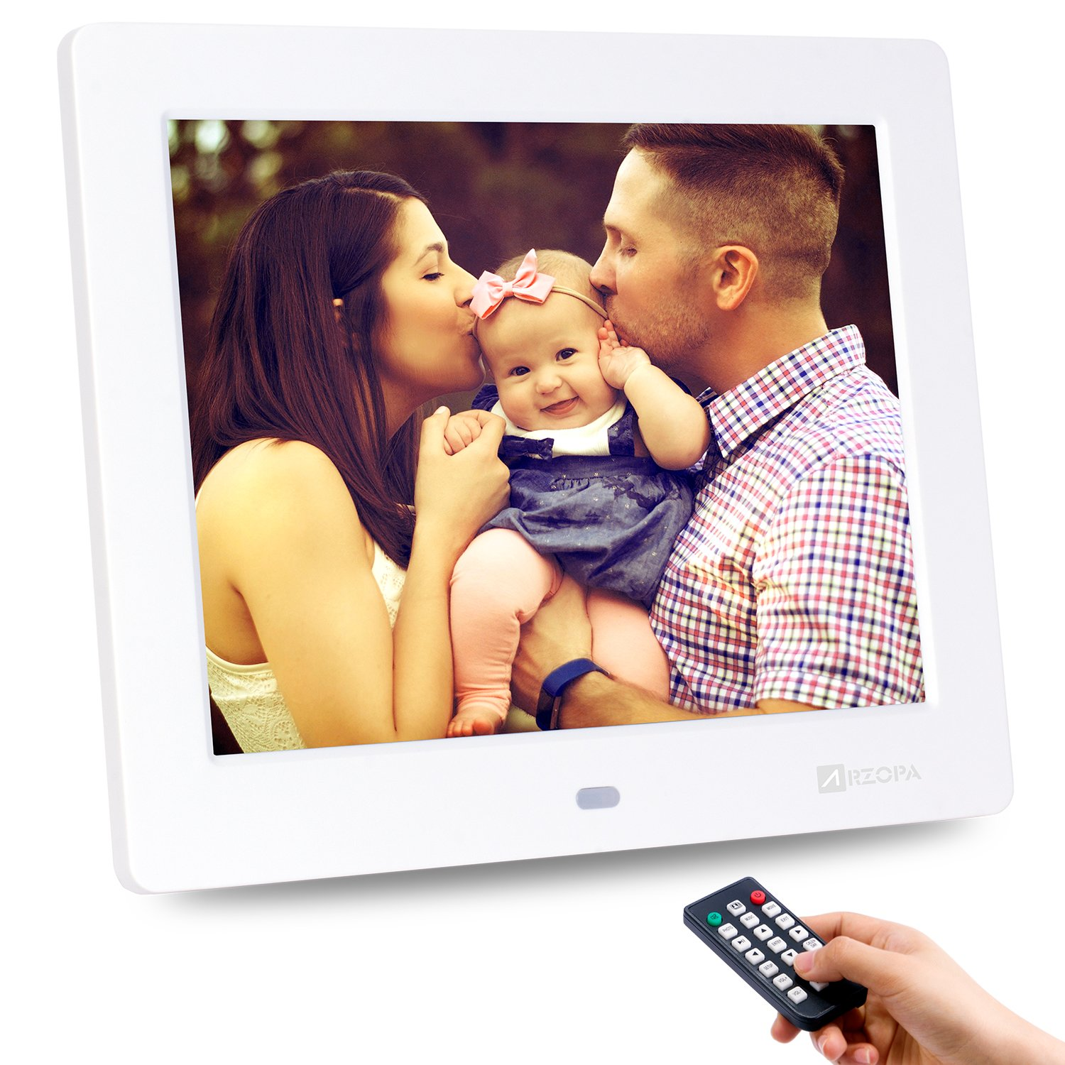 Advanced Digital Picture Photo Frame - 720P and Partial 1080P HD IPS Widescreen MP3 MP4 Video Player with Calendar/Clock/Remote Control White (8 inch)
