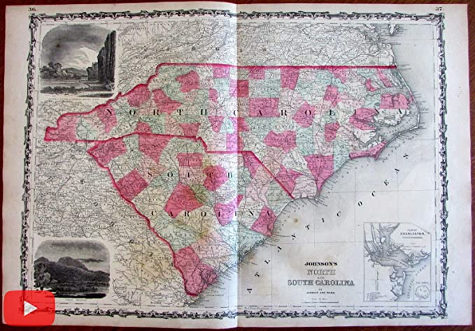 Amazon.com: North & South Carolina 1864 Johnson & Ward Civil War map ...