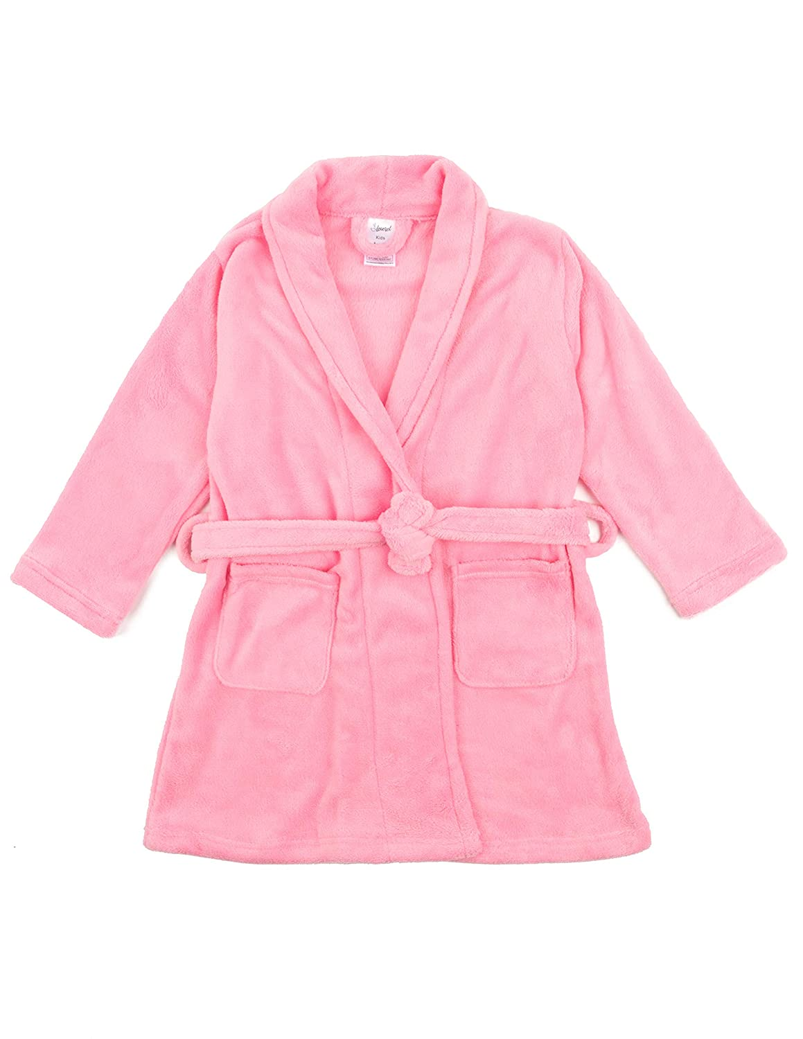 Leveret Kids Robe Boys Girls Shawl Collar Fleece Sleep Robe Size 4-14 Years Variety of Colors