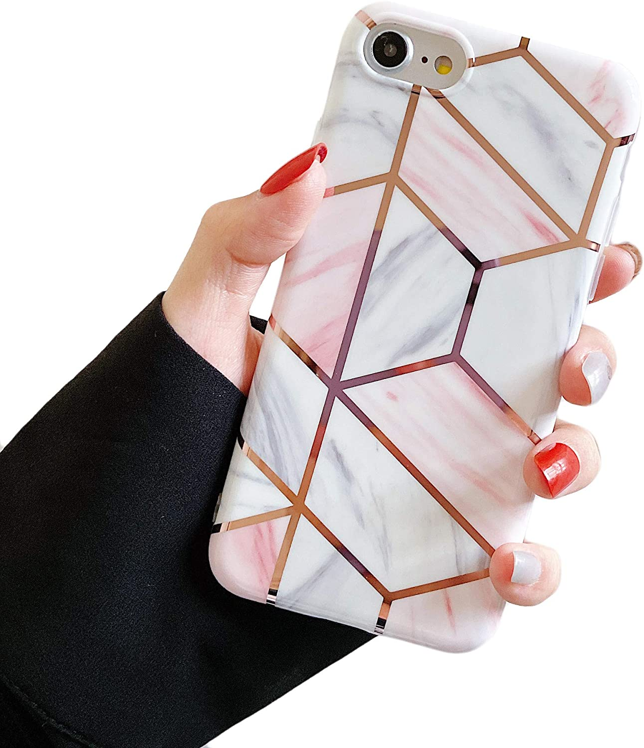 Cocomii Geometric Marble iPhone 6S/6 Case, Slim Thin Glossy Soft Flexible TPU Silicone Rubber Gel Shiny Reflective Streaks Fashion Bumper Cover Compatible with Apple iPhone 6S/6 (Light Pink)