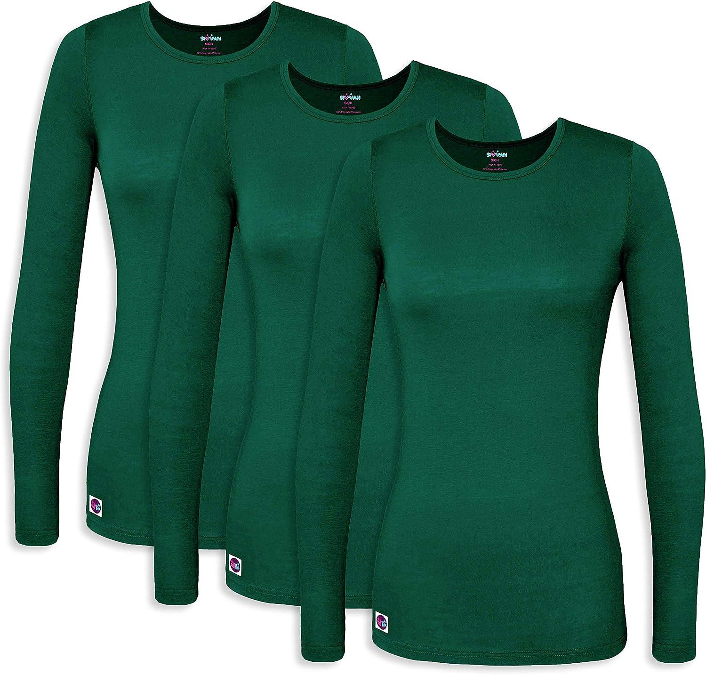 Sivvan 3 Pack Women's Comfort Long Sleeve T-Shirt/Underscrub Tee at  Women's Clothing store