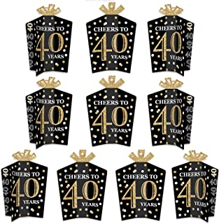 product image for Big Dot of Happiness Adult 40th Birthday - Gold - Table Decorations - Birthday Party Fold and Flare Centerpieces - 10 Count