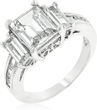Gemmart ZYR422 Concise Cubic Zirconia Silver Color Jewelry sterling silver engagement ring