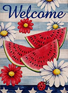 Dyrenson Watermelon Garden Flag Double Sided Home Decorative Welcome Quote, Flower House Yard Flag, Ladybug Garden Yard Decorations, Floral Daisies Burlap Seasonal Outdoor Flag 12 x 18 for Summer