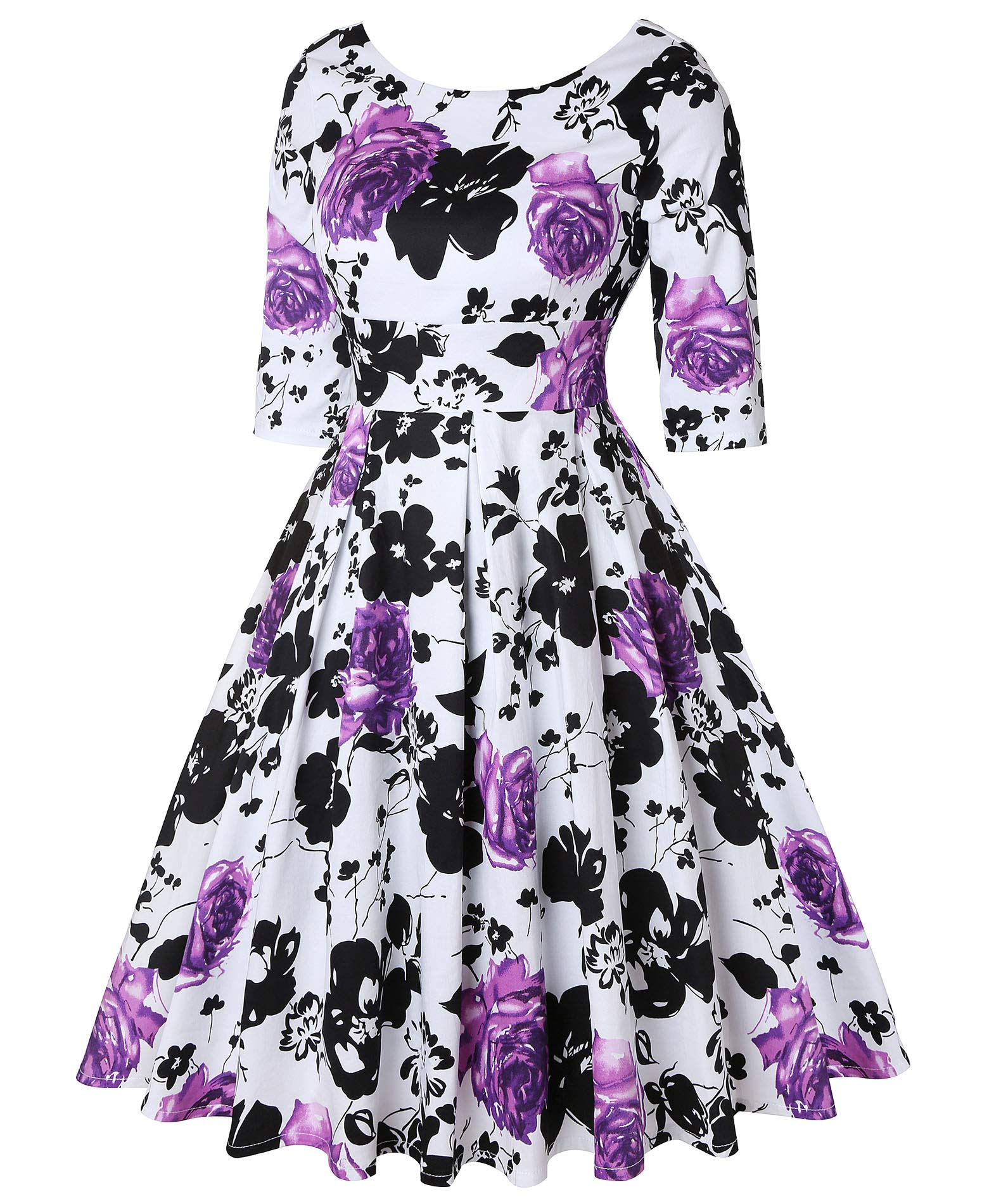 ROOSEY Women's 50s Style Swing Dress Vintage Retro Cocktail Evening Formal Dress by ROOSEY (Image #2)