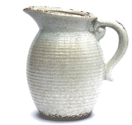 Tutti Decor Retro Large Ceramic Pitcher Jug Vase In Vintage Blue And