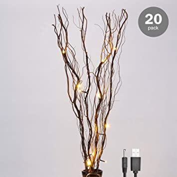 LIGHTSHARE 20 Pack of Natural Twig Lighted Branch for Home Decoration, 36  Inch 16 LED, USB Plug-in and Battery Powered,Warm White Light Brown Branch