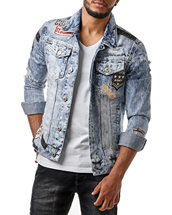 Redbridge Herren Denim Jeans Jacke Biker Destroyed Distressed Patches Slim Fit Blau M6043