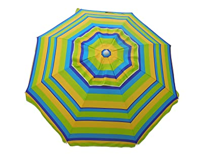 Heininger 1295 Beach Umbrella with Tilt and Travel Bag (Lemon and Lime 7')