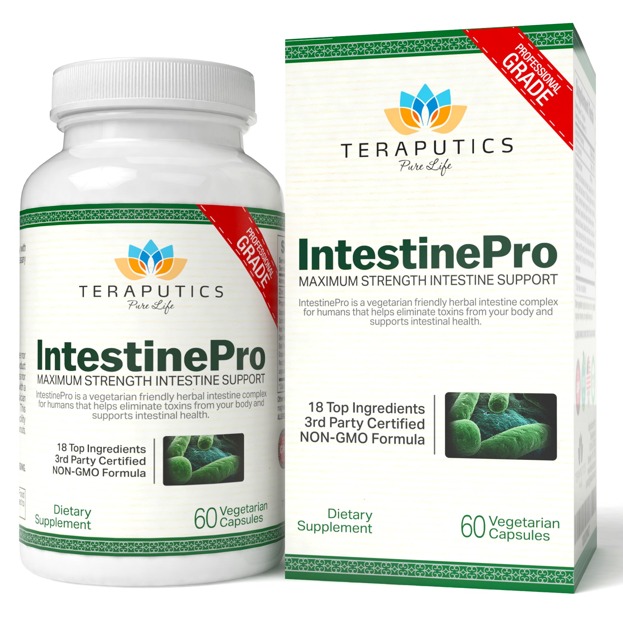 IntestinePro Intestine Support for Humans with NON-GMO Wormwood, Black Walnut, Echinacea + 15 More Premium Ingredients, 1485mg, 30 Servings, 60 Vegetarian Capsules