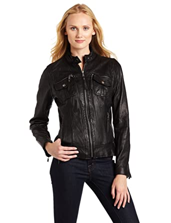 622451f38d28 Michael Michael Kors Women s Updated Basic Leather Jacket at Amazon ...