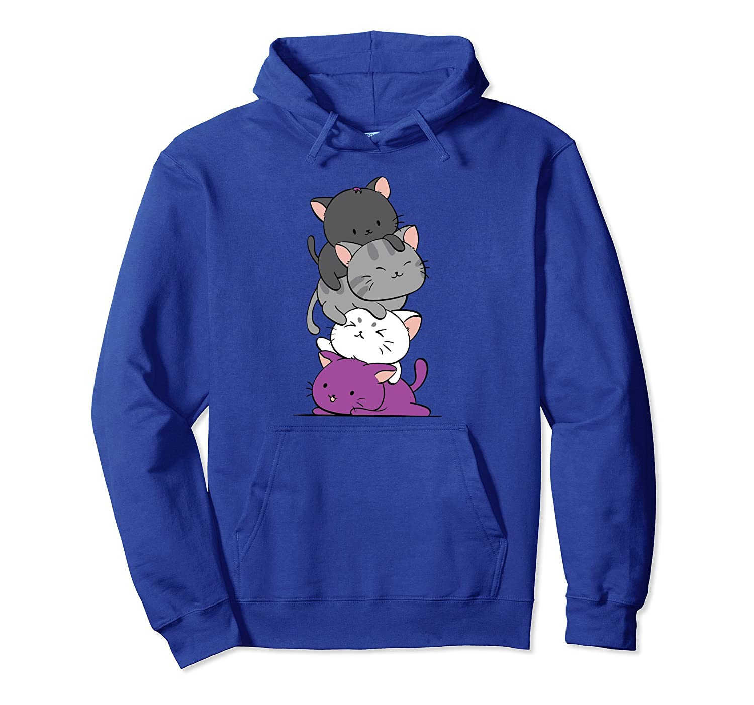 Amazon.com  Kawaii Cat Pile Anime Hoodie - Asexual Pride Flag Kittens   Clothing 3d95387dc29b