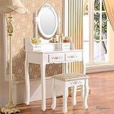 Elegance Vanity Set with Mirror &Stool / Makeup Dressing Table ,White