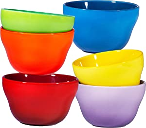 Ceramic Dessert Bowls Set – 8 Oz Durable Ceramic Bowls set of 6 Elegant Colorful Gradient Colors for Ice-cream, Salad, Cereal, Snack, Fruit, Rice & Pudding Microwave Safe Appetizer Bowls