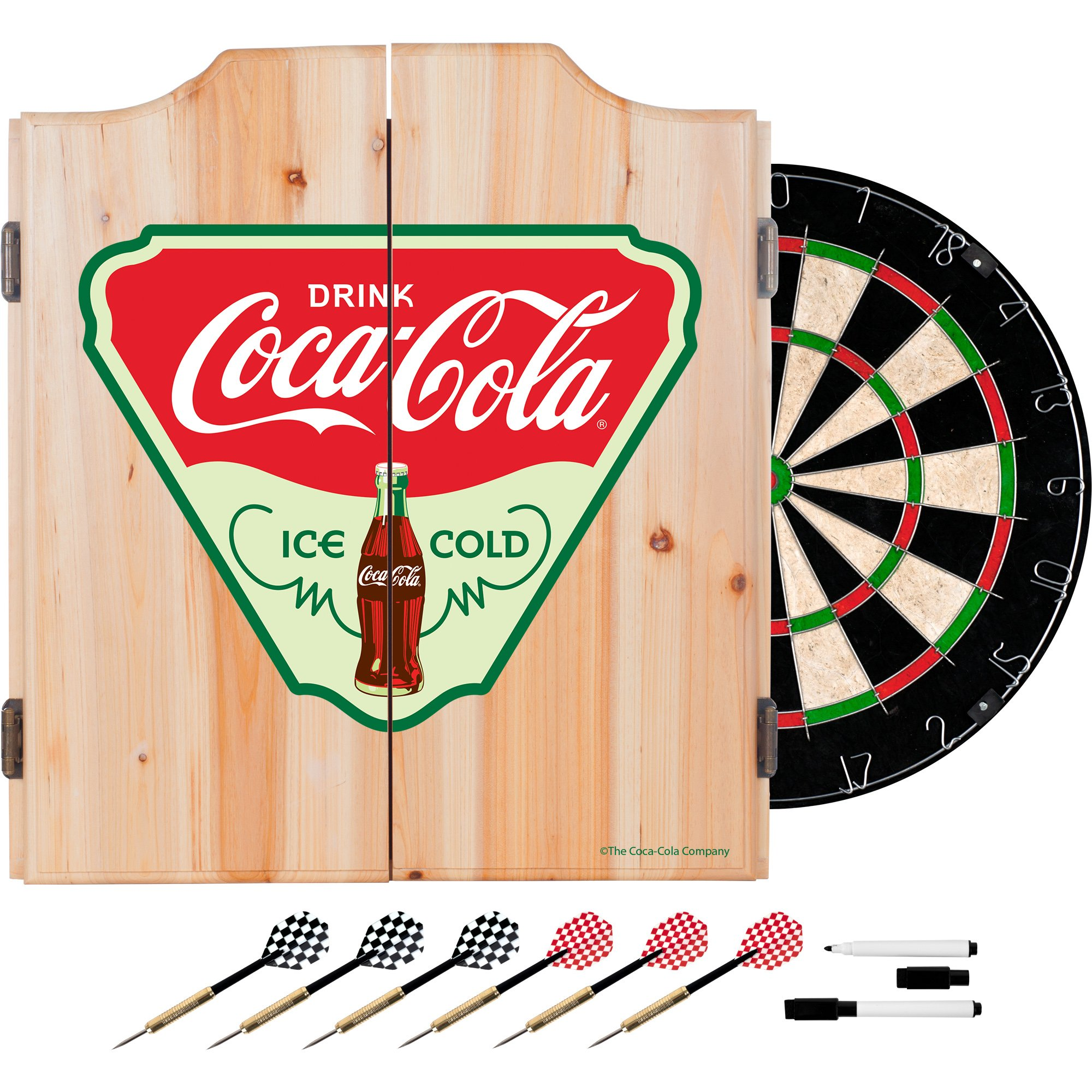 Trademark Gameroom COKE7010-IC Coca Cola Dart Cabinet Set with Darts & Board - Ice Cold
