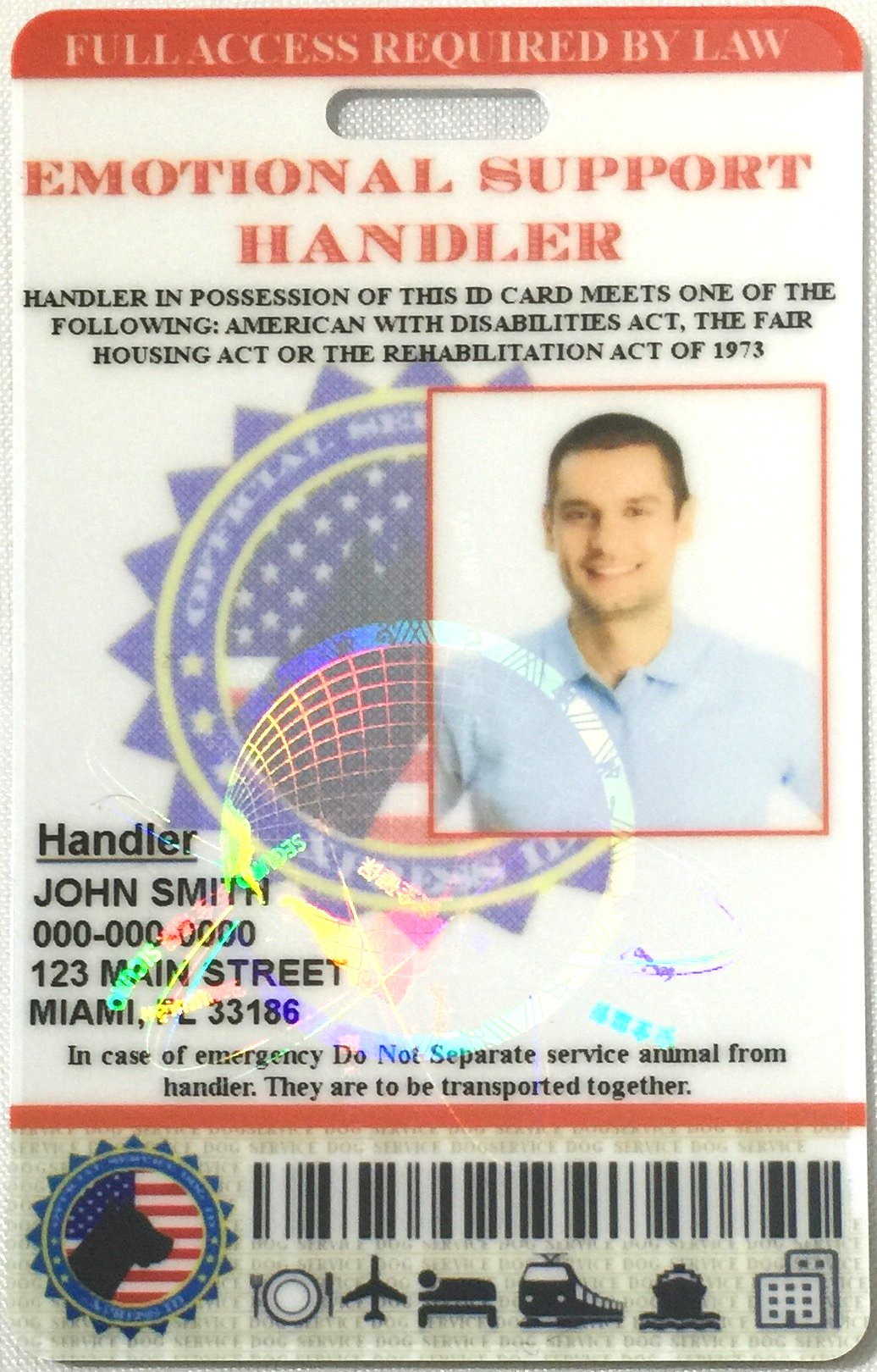 XpressID Holographic Emotional Support Dog & Handler ID Card   Includes Registration to National Dog Registry by Xpress ID (Image #6)