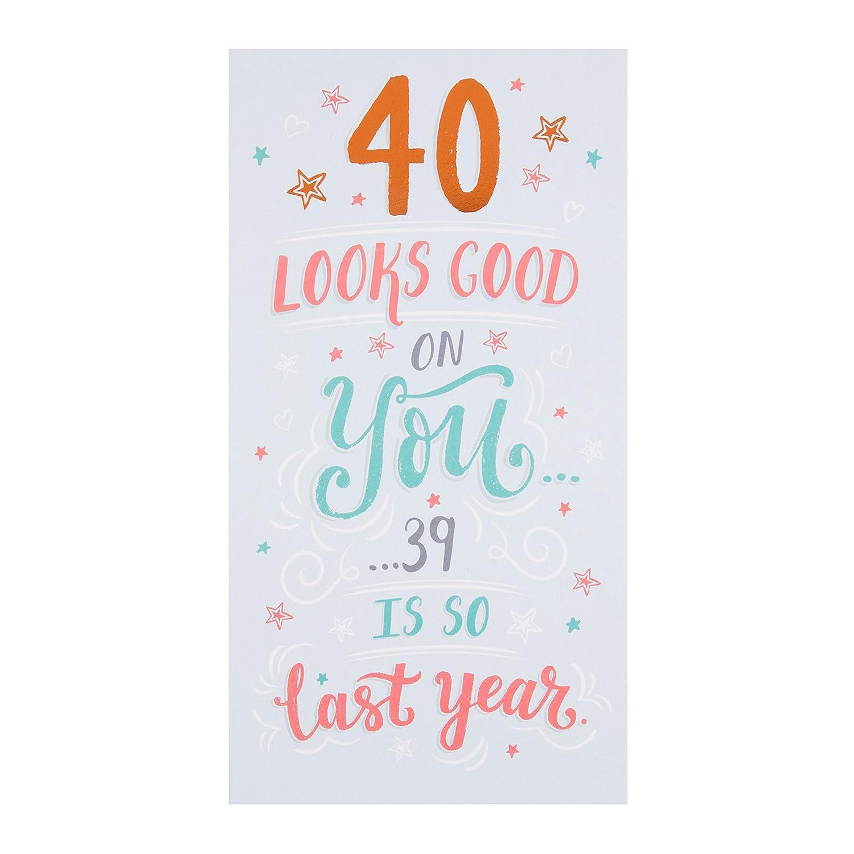 Hallmark 25494392 - Tarjeta de felicitación de 40 cumpleaños ...