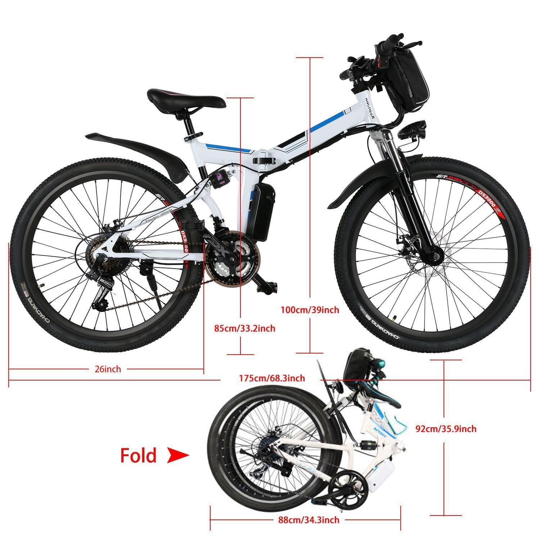cooshional Bicicleta Eléctrica Plegable de Montaña con la Batería de Iones de Litio 36V Ruedas de 26 Pulgadas Color Blanco: Amazon.es: Ropa y accesorios
