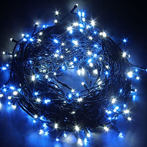 jndee 300led safe voltage fully weatherproof fairy lights alternate blue white for christmas tree - Blue And White Outdoor Christmas Decorations