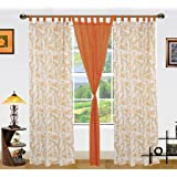"""Dekor World 3 Piece Cotton Floral Printed Loop Curtains - 44""""X84"""", Orange"""