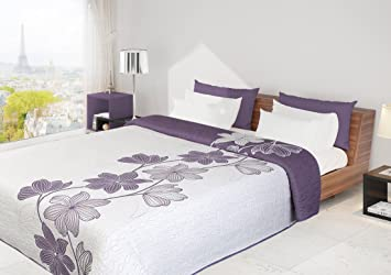 170x210 Tagesdecke violett lila creme Bettüberwurf zweiseitig ...
