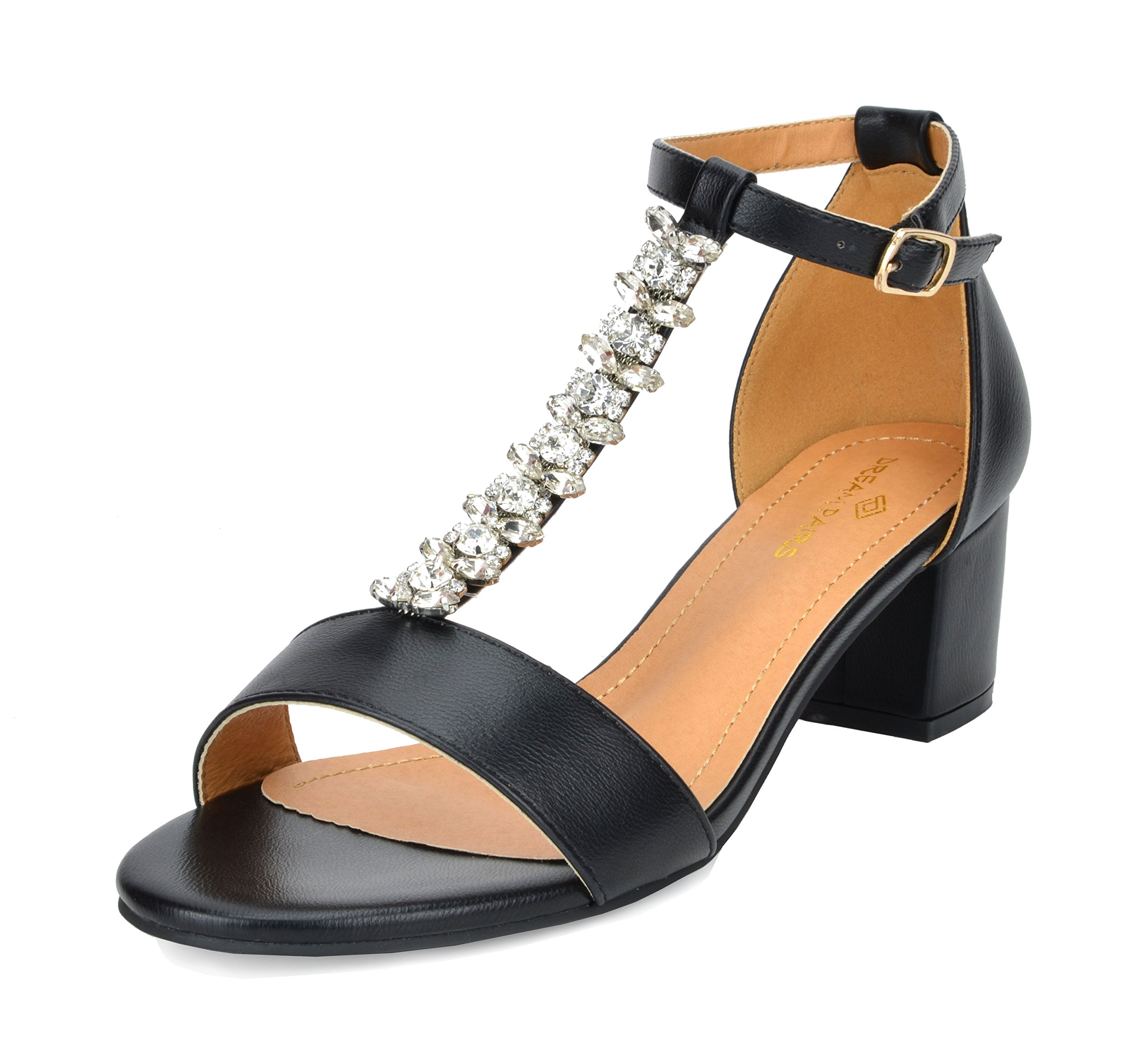 b064ada29e9 DREAM PAIRS Women s Mona Low Block Heel Dress Sandal Open Toe Ankle Strap  Pump Sandal. starstarstarstarstar half