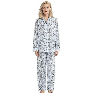 84f4f74312 Boyfriend Button Down Pajama Set, Long Sleeve Sleepwear Set with Elastic  Pants (XL,