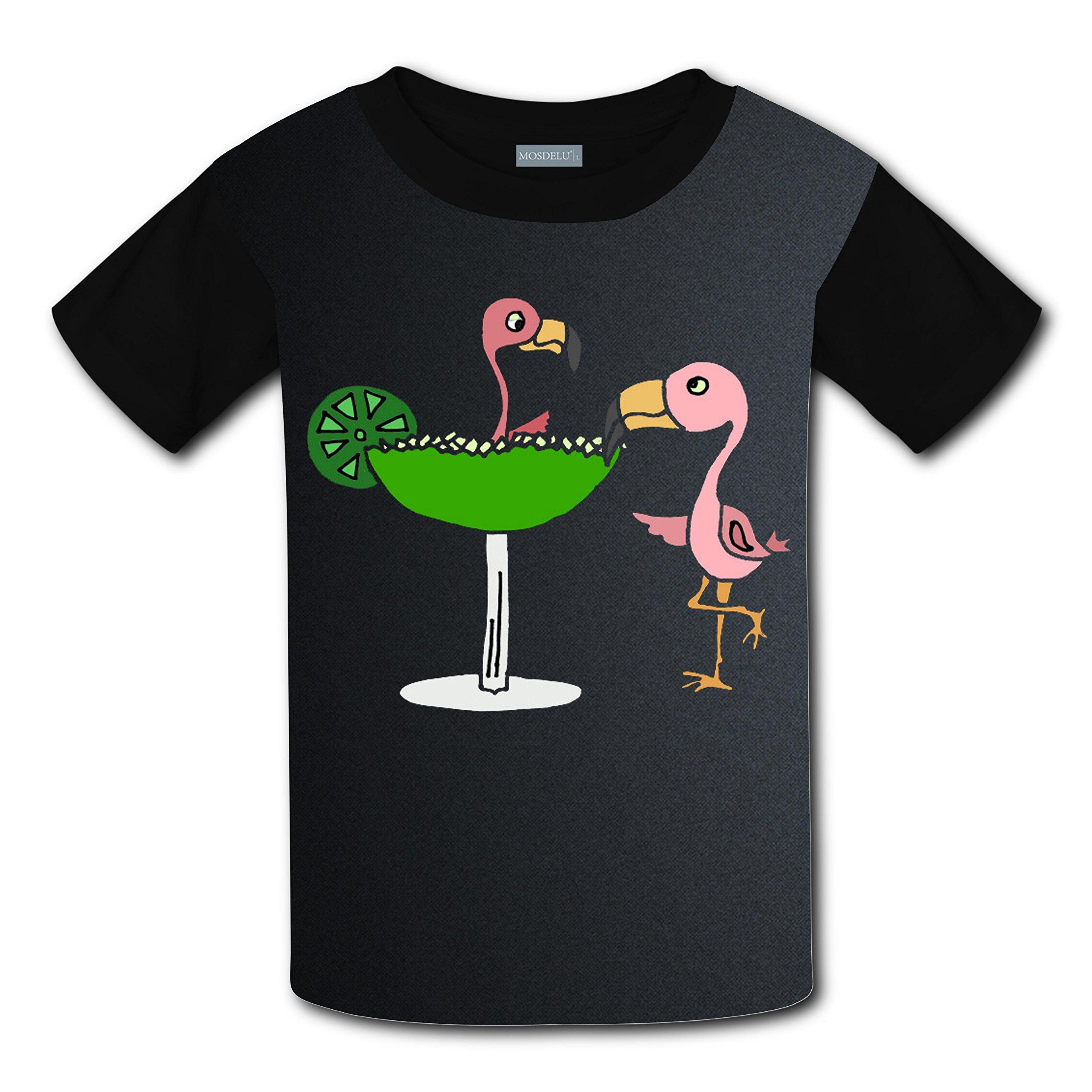Unisex Kids Pink Flamingo Birthday Funny Round Collar Short Sleeve T- Shirt