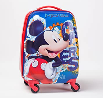 Kids Mickey Mouse Hard Shell 4 Wheel Spinner Rolling Luggage ...