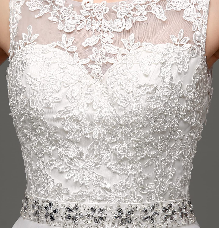 Bridal_Mall Women's Lace Applique Beading Wedding Dress