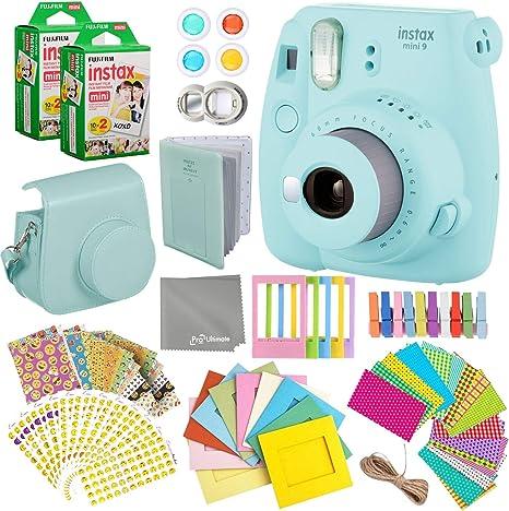 Fujifilm Instax Mini 9 Cámara Instantánea + Fuji Instax Película (40 Hojas) + Accesorios Bundle – Funda de Transporte, álbum de Fotos, Marcos Surtidos, Marcos de Pegatinas Coloridas (Emoji) + Más: Amazon.es: Electrónica