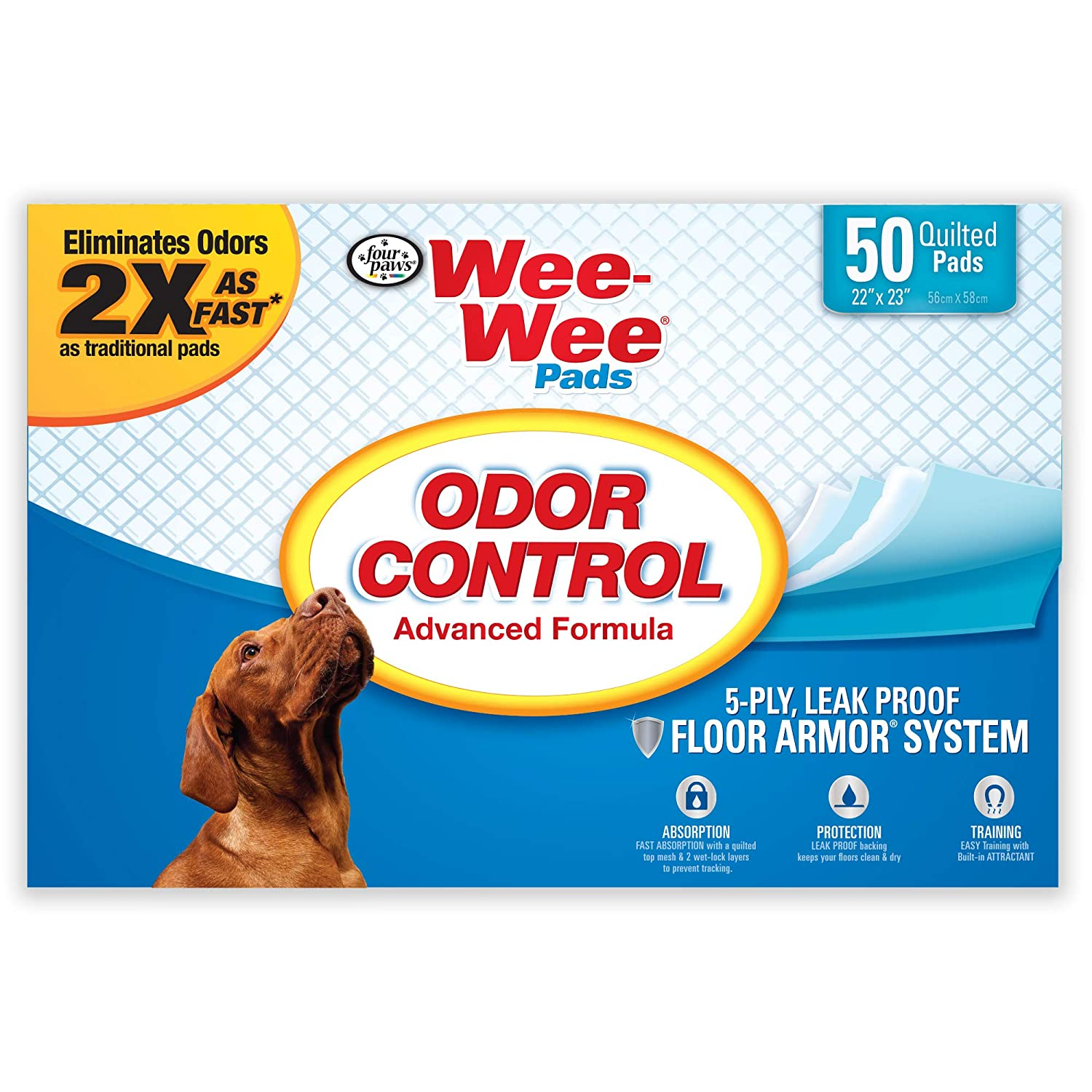 Four Paws Wee-Wee Odor Control Absorbent Pads for Dogs, 50 Count