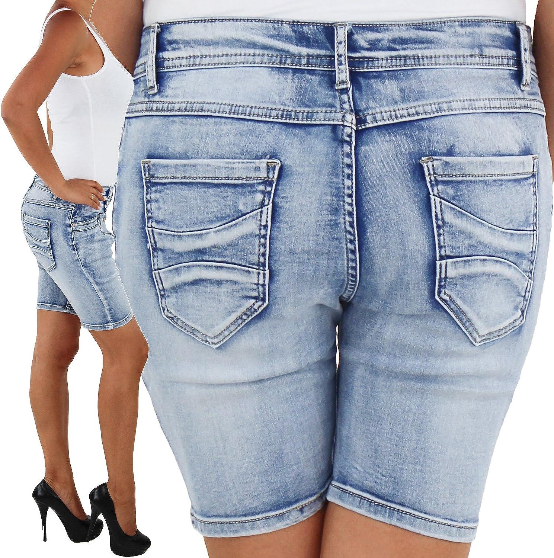 Damen Jeans Hotpants Hot Pants Shorts Kurze Hose Capri H/üft Stretch Bermuda Sommer Blau