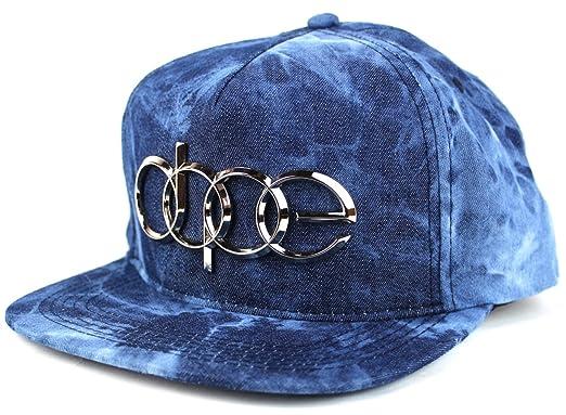 new style 90e52 bb497 Dope Couture Quattro Snapback Cap Luxury Car Emblem Metal Plate Baseball  Cap (Denim Blue)