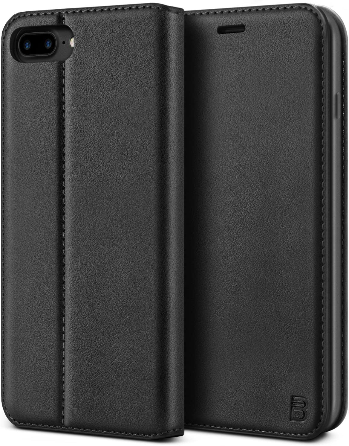 BEZ Funda iPhone 8 Plus, iPhone 7 Plus, Carcasa Compatible para iPhone 8 Plus, Libro de Cuero con Tapa y Cartera, Cover Protectora con Ranura para Tarjetas y Billetera, Cierre Magnético, Negro