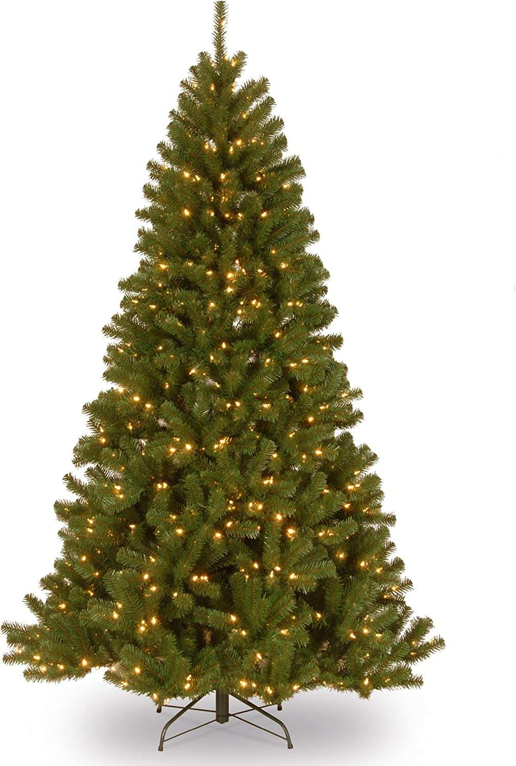 National Tree 7 Foot North Valley Spruce Tree with 500 Clear Lights, Hinged (NRV7-300-70), 7'