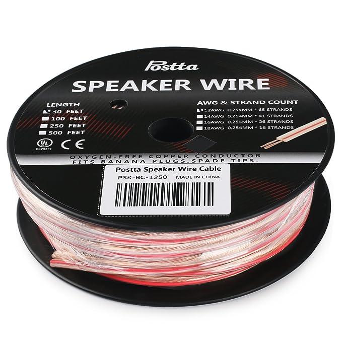 Amazon.com: Postta 12-Gauge Speaker Wire Cable with Pure Copper Core ...