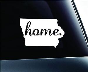 ExpressDecor #2 Home Iowa Symbol Decal Family Love Car Truck Sticker Window (White)