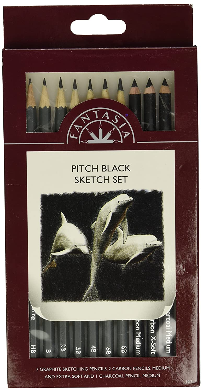 Fantasia Pitch Black Sketch Pencil Set 10 Piece
