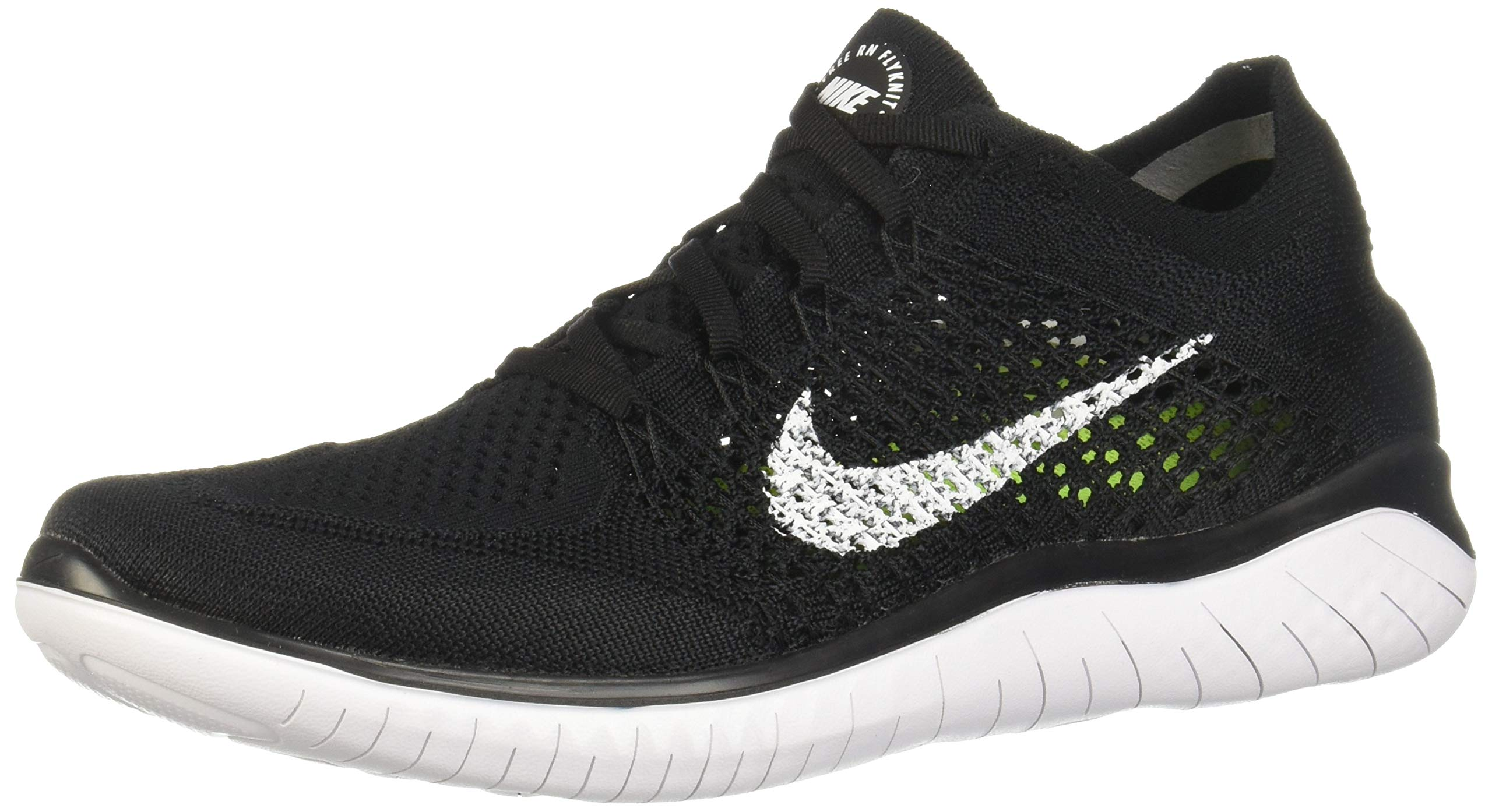 Nike Men's Free Rn Flyknit 2018 Black/White Running Shoe 10.5 Men US by Nike