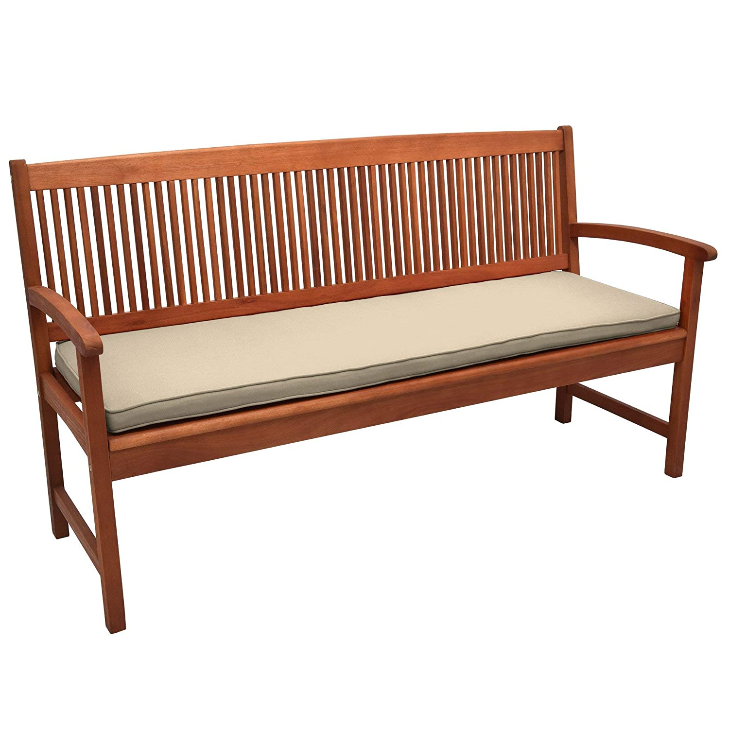 Beautissu Outdoor Bench Cushion Loft BK Comfortable Cushion 100 x 48 x 5 cm Natur 2 or 3 Seater Garden Bench Pad