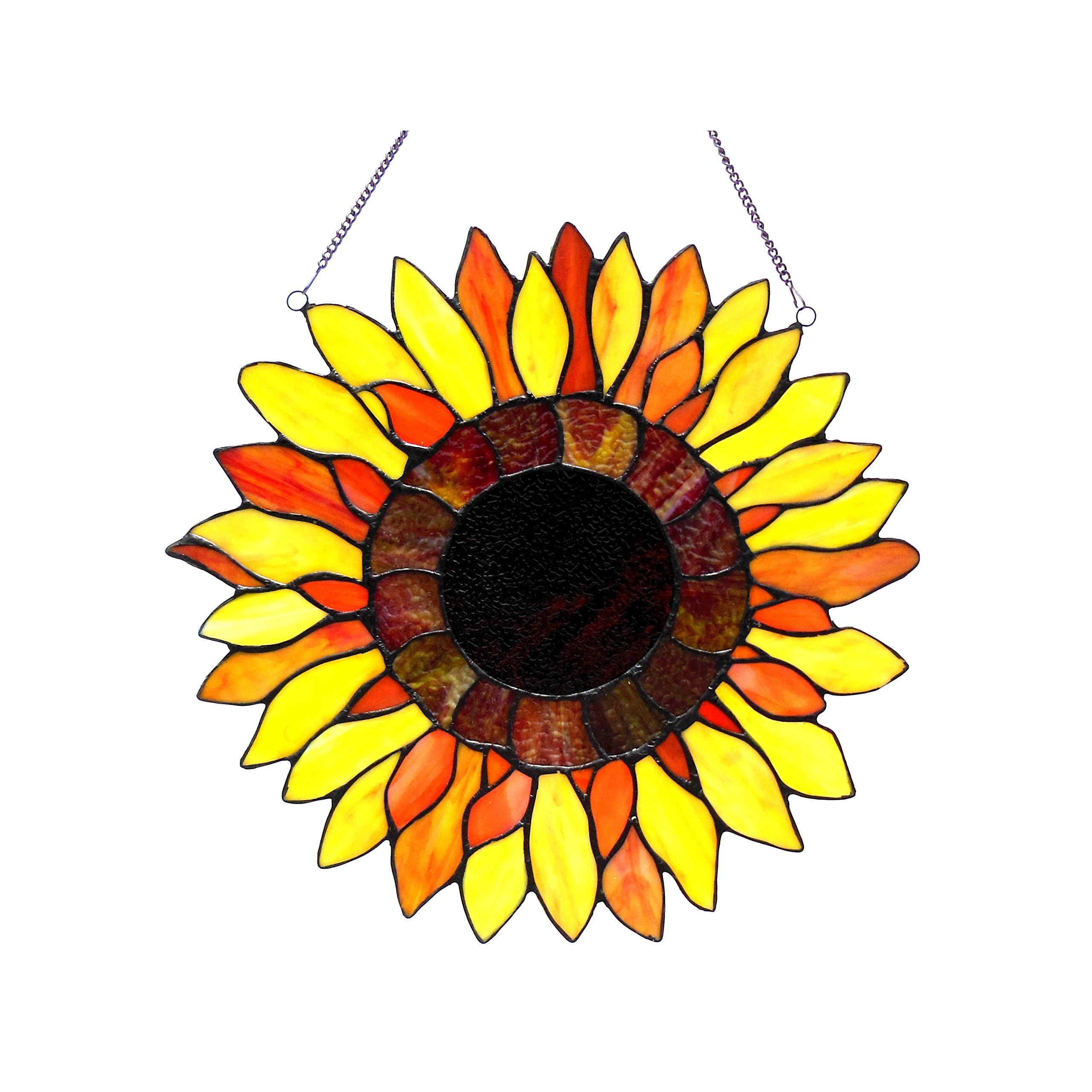Chloe Lighting Sunnyville Tiffany-Glass Sunflower Window Panel 16''