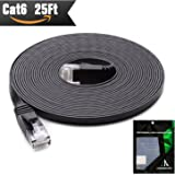 Cat 6 Ethernet Cable 25 ft (at Cat5e Price but Higher Bandwidth) Cat6 Network Cable - Ethernet Patch Cable - Computer Internet Cable With Snagless RJ45 Connectors - Enjoy High Speed Surfing - Black