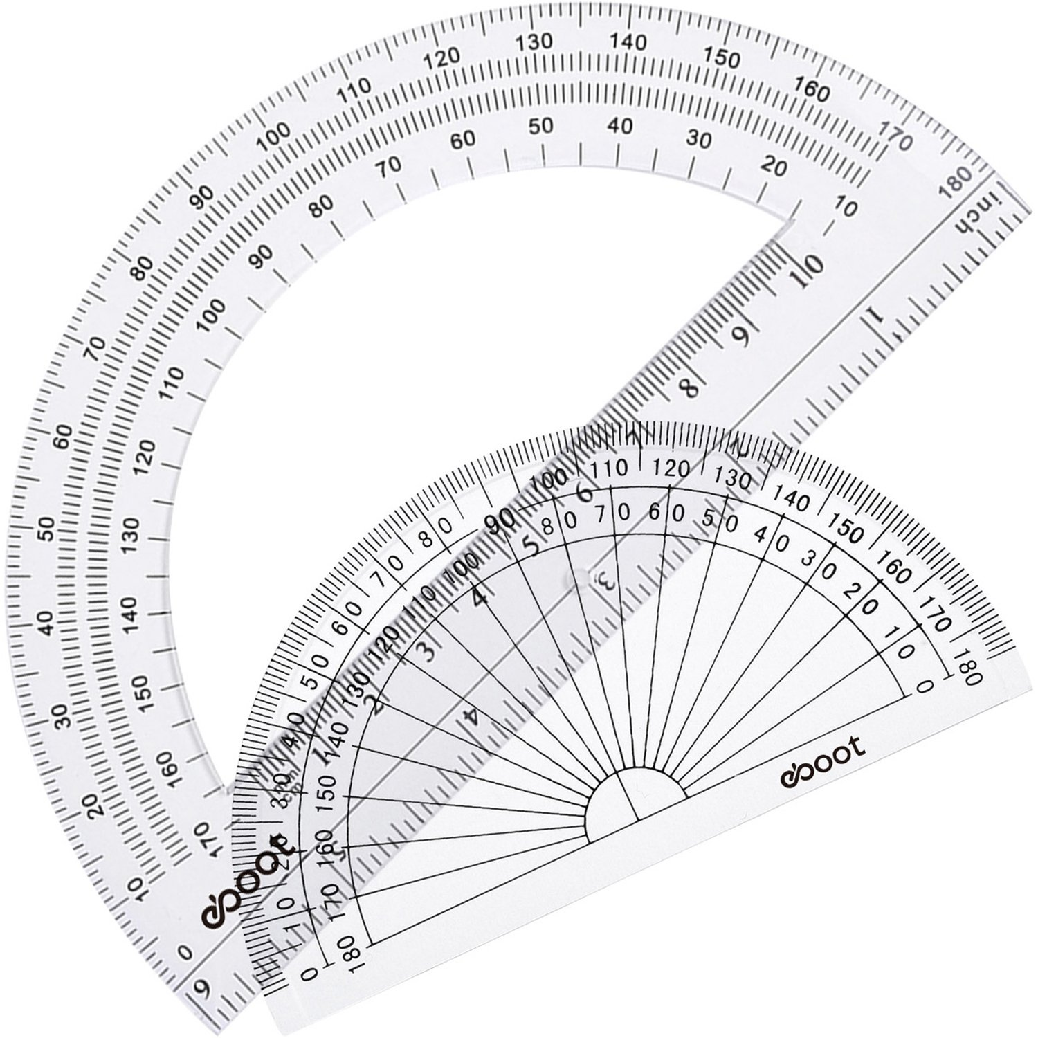 eBoot Plastic Protractor 180 Degree, 4 Inch and 6 Inch, Clear, 2 Pieces