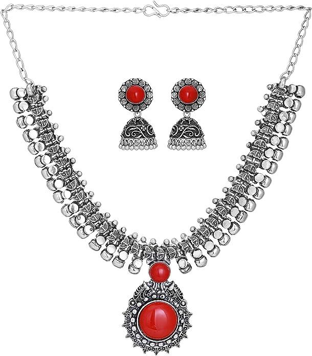 Fashion Necklace Set Jewelry Set Women Jewelry Tribal jewelry Necklace /& Earrings Set Orange Handmade Stone Chips Single Strand from India