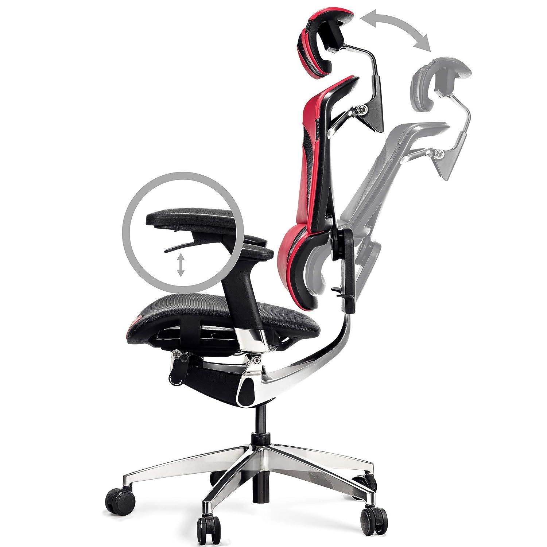 Antracite 128 cm x 68 cm x 78 cm Diablo V-Dynamic Sedia da Ufficio ergonomica Poltrona direzionale braccioli Regolabili Maglia Finta Pelle meccanismo oscillante Selezione di Colore