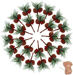 Geefuun 24Pieces Christmas Artificial Pine Needle/Pick Decorations 1 Pack Jute Twine Rope - Xmas Party Gift Wrapping Decor Wreaths Arrangement Tree Ornaments Wedding Supplies