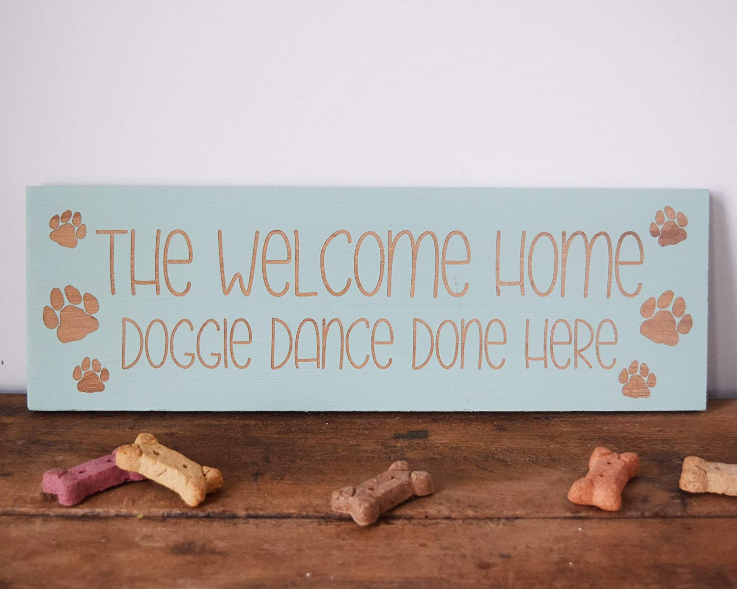 The Welcome Home Doggie Dance Done Here Wood Framed Sign Wall Hanging Signs, Farmhouse Family Wall Art Sign for Home Decor, Living Room and Kitchen, 6x24inch